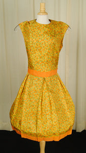 1960s Orange Floral Pleat Dress by Cats Like Us : Cats Like Us