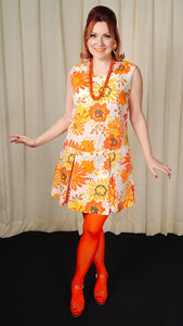 1960s Orange Floral Romper - Cats Like Us
