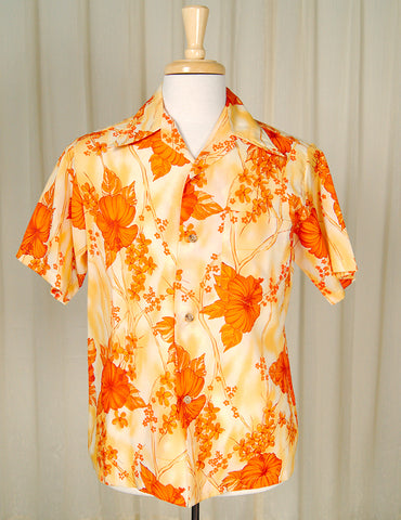 1960s Orange Hibiscus Shirt by Cats Like Us - Cats Like Us