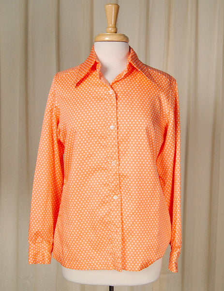1960s Orange Polka Dot Blouse by Cats Like Us - Cats Like Us