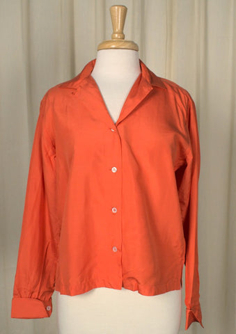 1960s Orange Silk Blouse