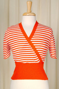 1960s Orange Striped Crop Top - Cats Like Us