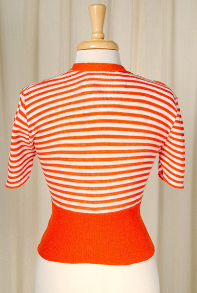 1960s Orange Striped Crop Top