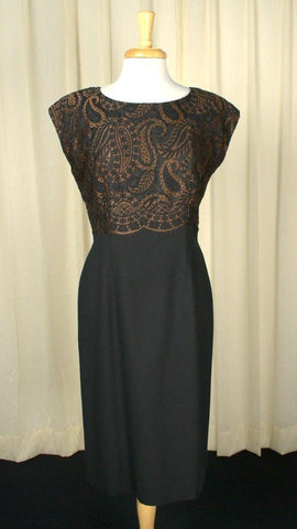 1960s Paisley Lace Wiggle Dress - Cats Like Us