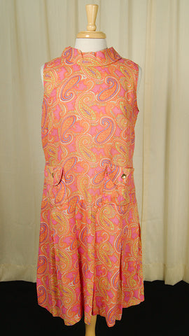 1960s Paisley Pleat Dress by Cats Like Us : Cats Like Us