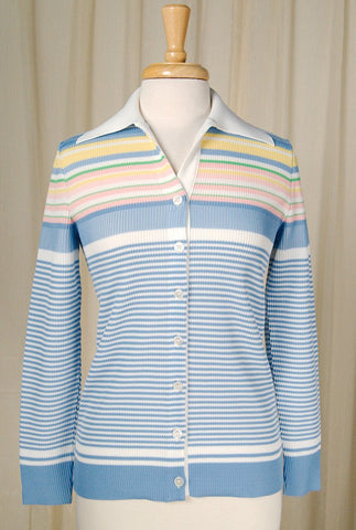 1960s Pastel Striped Knit Top - Cats Like Us