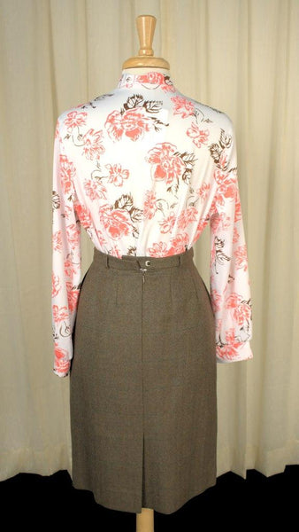 1960s Peach & Brown Blouse - Cats Like Us