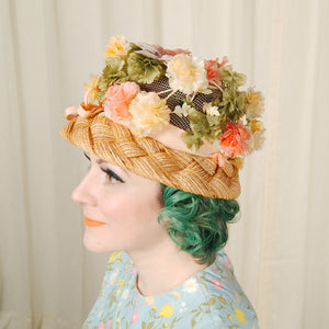 1960s Peach Floral Straw Hat by Cats Like Us - Cats Like Us