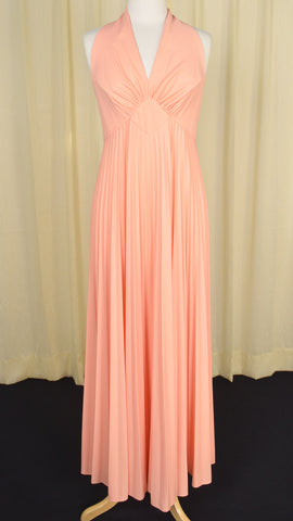 1960s Vintage Peach Maxi Dress Set