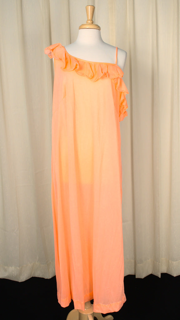 1960s Neon Peach Ruffle Night Gown