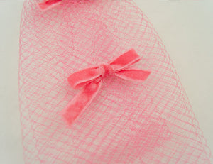 1960s Pink Bow Veil Whimsy Hat - Cats Like Us