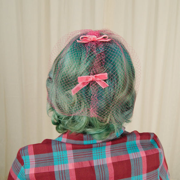 1960s Pink Bow Veil Whimsy Hat
