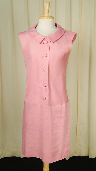 1960s Pink Drop Waist Dress by Vintage Collection by Cats Like Us - Cats Like Us
