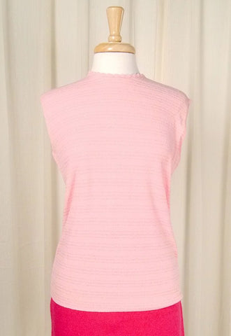 1960s Pink Knit Shell Top - Cats Like Us