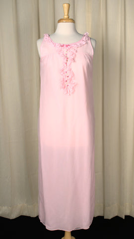 1960s Pink Lace Night Gown