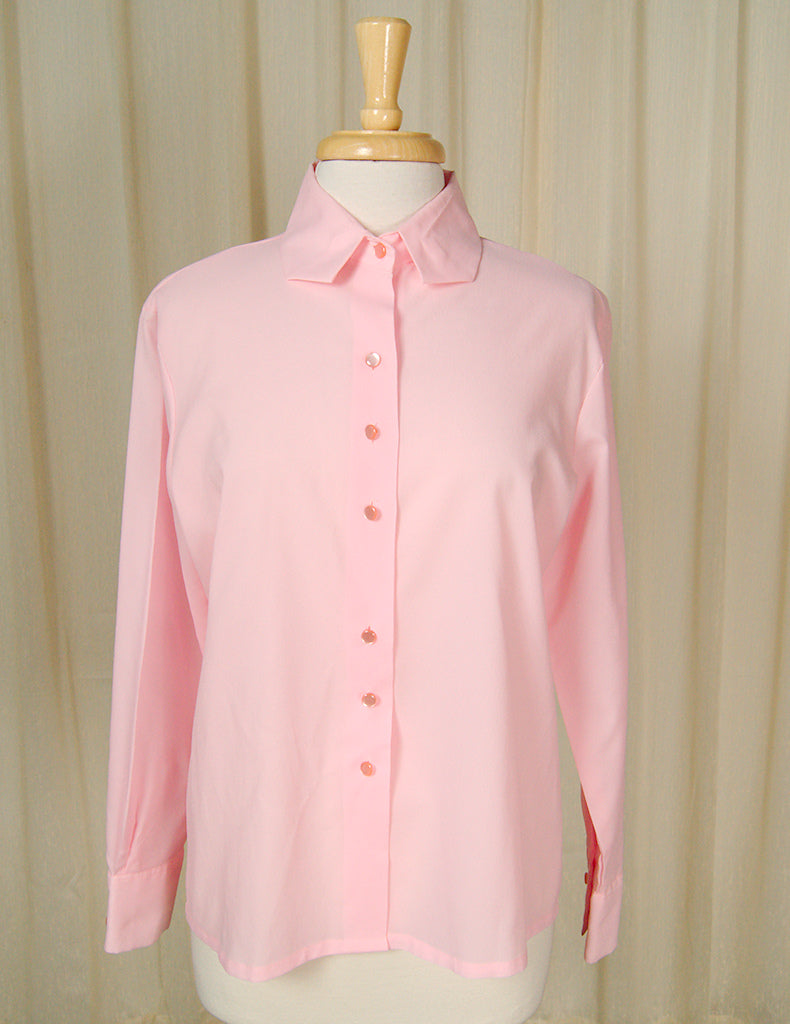 1960s Pink Long Sleeve Blouse by Cats Like Us - Cats Like Us