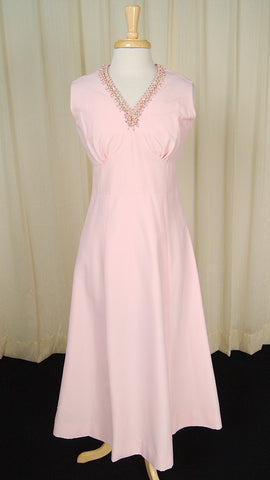 1960s Pink Pearl Maxi Dress by Cats Like Us - Cats Like Us