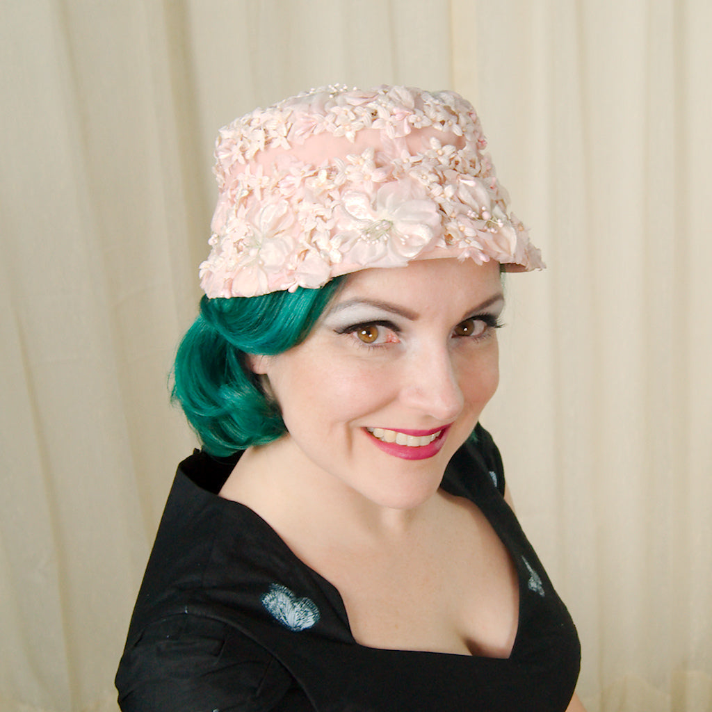 1960s Pink Velvet Flowers Hat by Cats Like Us - Cats Like Us
