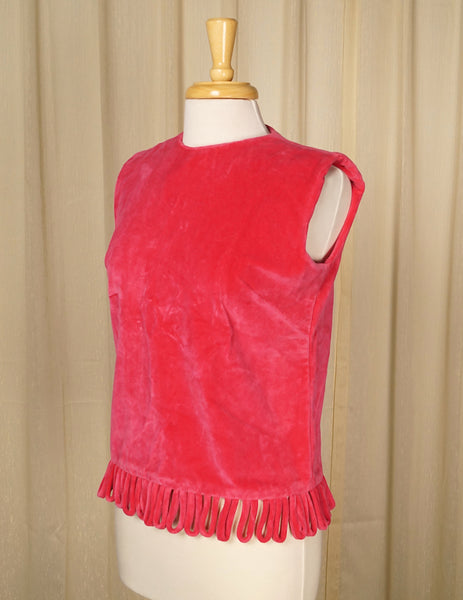 1960s Pink Velvet Loop Top by Cats Like Us - Cats Like Us