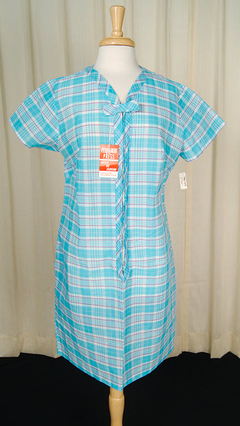 1960s Plaid Sheer Lounge Dress by Cats Like Us - Cats Like Us