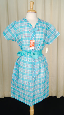 1960s Plaid Sheer Lounge Dress