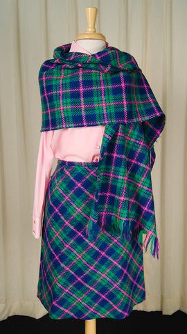 1960s Plaid Skirt w Wrap by Cats Like Us - Cats Like Us