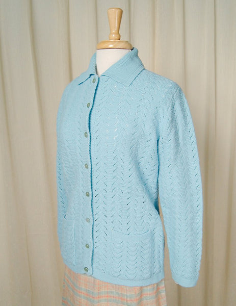 1960s Powder Blue Collar Cardi