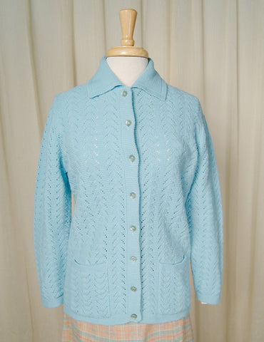 1960s Powder Blue Collar Cardi - Cats Like Us