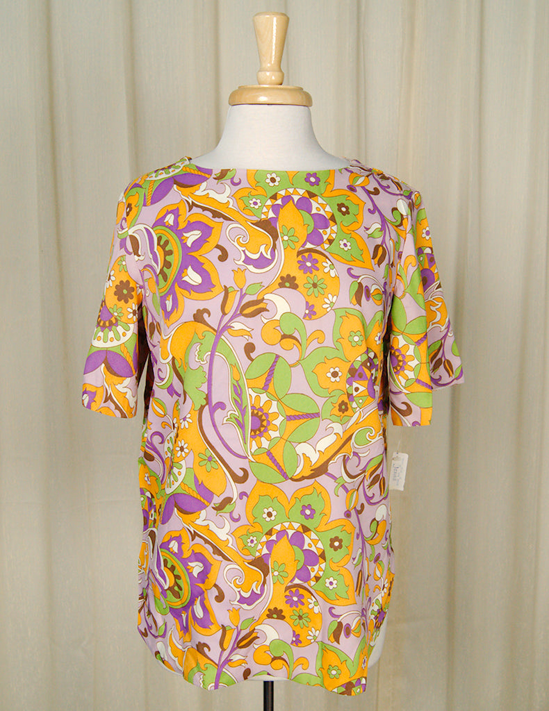 1960s Psychedelic Flowers Top by Cats Like Us - Cats Like Us