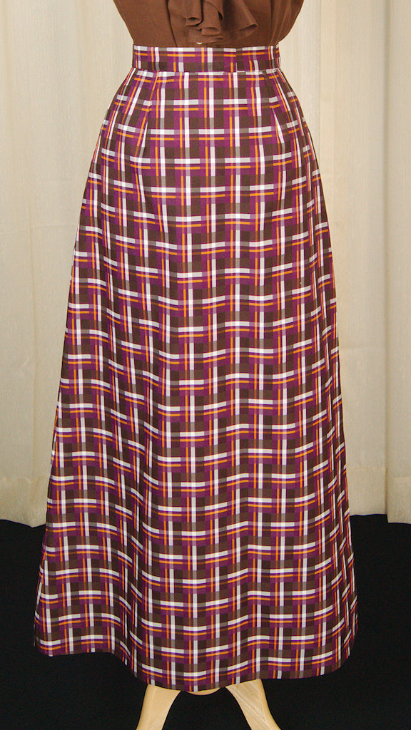 1960s Purple Geo Maxi Skirt by Cats Like Us - Cats Like Us