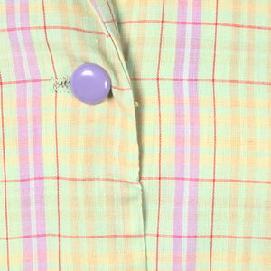 1960s Purple Vintage Plaid Dress