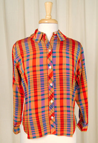 1960s Rainbow Plaid Shirt