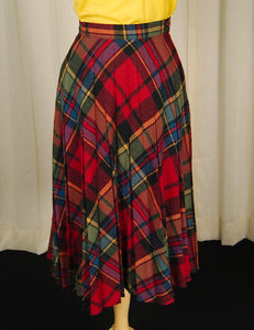 1960s Rainbow Plaid Skirt by Cats Like Us - Cats Like Us