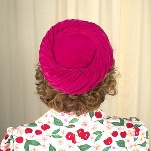 1960s Rasp Velvet Swirl Hat - Cats Like Us