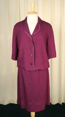 1960s Raspberry Crepe Suit