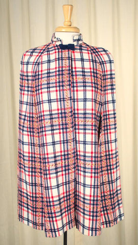 1960s Red & Blue Plaid Capelet