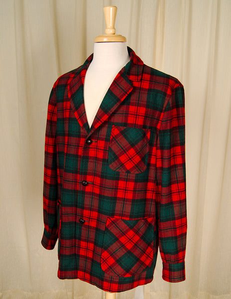 1960s Red & Green Plaid Jacket by Vintage Collection by Cats Like Us - Cats Like Us