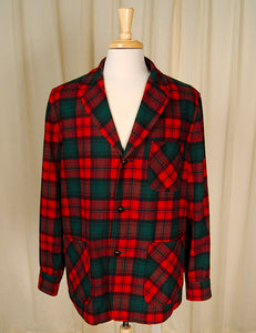 1960s Red & Green Plaid Jacket