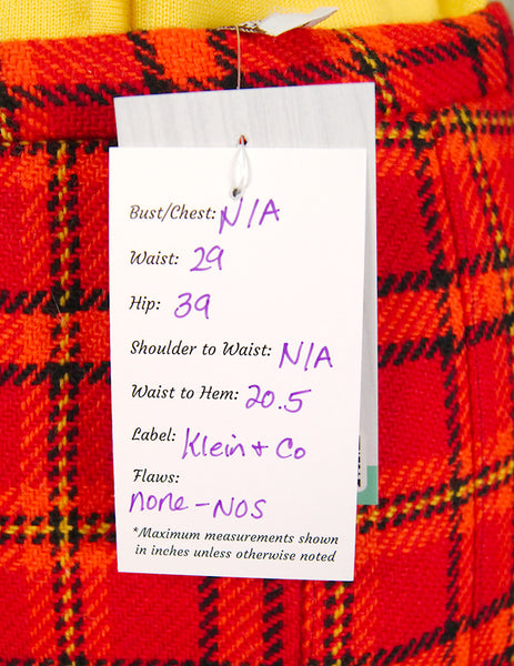 1960s Red & Orange Plaid Skirt by Cats Like Us - Cats Like Us