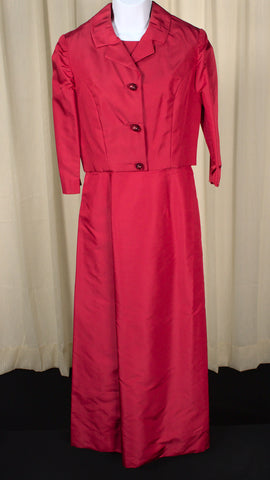 1960s Vintage Red Maxi Dress & Jacket