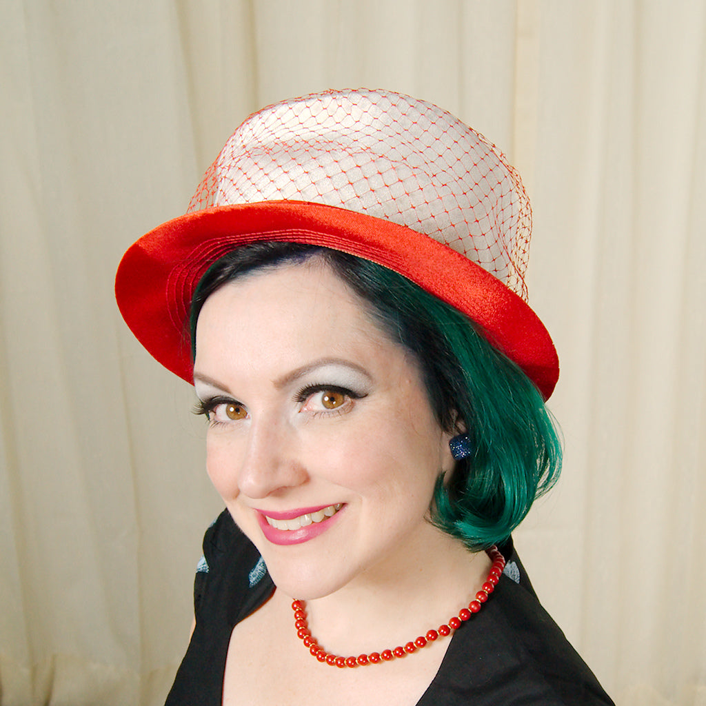 1960s Red Mod Netting Hat by Cats Like Us - Cats Like Us