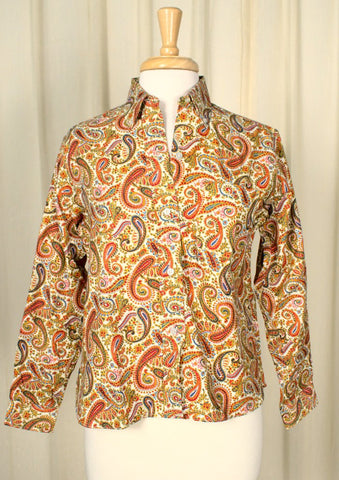1960s Red Paisley Shirt - Cats Like Us