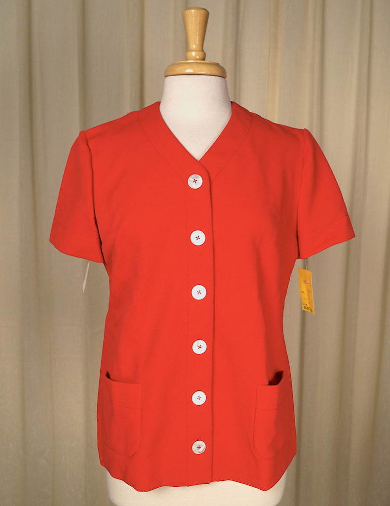 1960s Red Shirt w Pockets