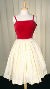 1960s Red Velvet & Cream Dress - Cats Like Us