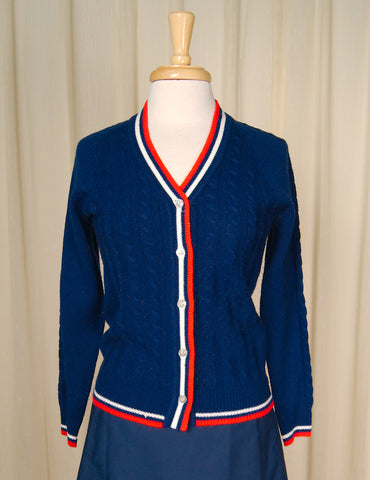 1960s Red White & Blue Cardi