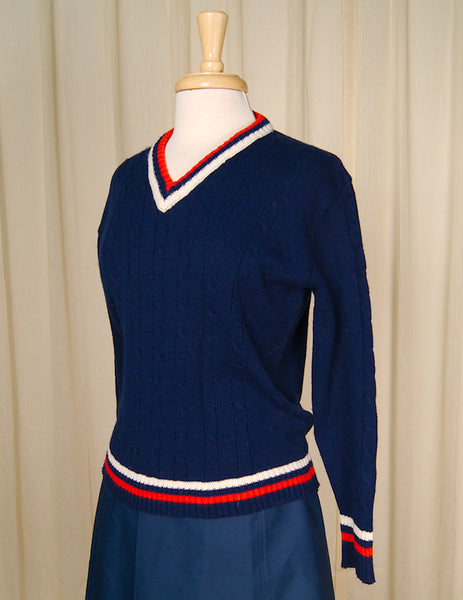 1960s Red White & Blue Sweater by Cats Like Us - Cats Like Us