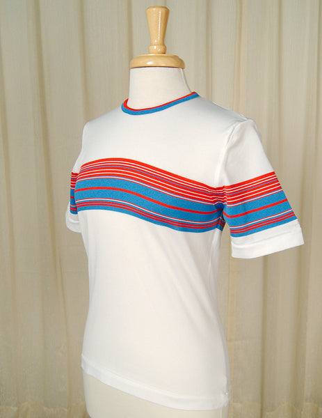 1960s Red White & Blue T Shirt by Cats Like Us - Cats Like Us