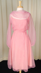 1960s Rose Chiffon Daisy Dress
