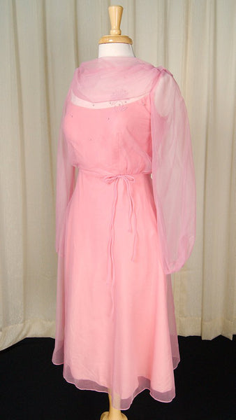 1960s Rose Chiffon Daisy Dress - Cats Like Us