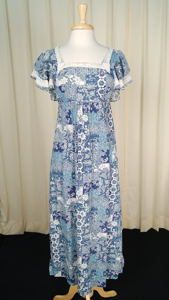 1960s Ruffle Hippie Maxi Dress by Cats Like Us - Cats Like Us